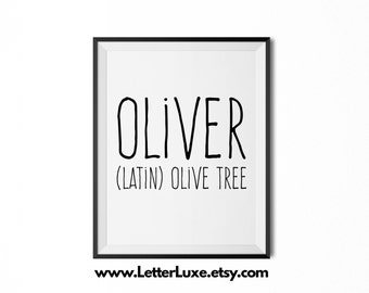 Oliver Name Meaning Art - Printable Baby Shower Gift - Nursery Printable Art - Digital Print - Nursery Decor - Typography Wall Decor