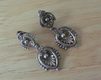 Vintage Sterling Silver Clip On Dangle Earrings