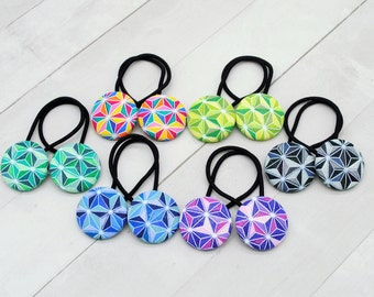 Stocking Stuffer for Girl, Hair Elastic Fabric Hair Tie, Rainbow Geometric Fabric Hair Button, Hair Accessories for Girls Ponytail Holder