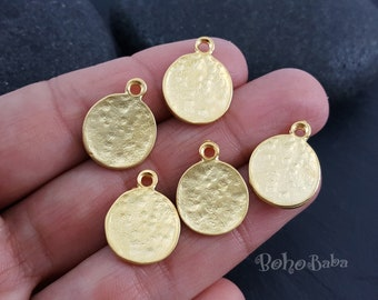 5 Pc, Hammered Gold Coins, Mini Coin Charms, Turkish Jewelry, Rustic Coins, Coin Pendants, Coin Findings, Coin Charms