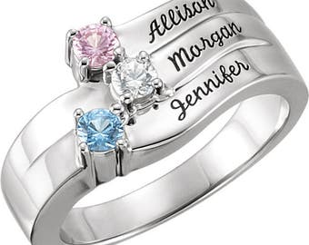 Mothers ring. Birthstone ring. Family jewelry. Engraved ring. family ring. Personalized mothers ring. Mothers day. Gemstone ring. 1-4 Stones