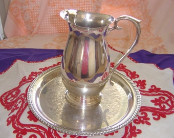 """Vintage 2pcs """"Wm. ROGERS"""" Trademark 1883 Silverplate Water Pitcher With Ice Lip, Plus A Small SP """"Wm. ROGERS"""" Eagle and Star Tray # 171"""