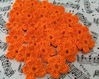 Crochet Small Pumpkin Flowers - Set of 25