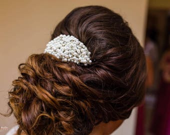 Pearl bridal hair comb, crystal bridal hairpiece, retro wedding hair comb, pearl bridal hair accessories