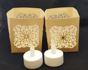 Luminaries With LED Tea Lights -  Lanterns With LED Tea Lights