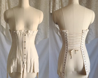 Antique 1910's Edwardian Corset   Beige Cotton with Metal Stays   The Live Model Corset by Kabo   New Old Stock   Size 20