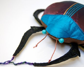 SALE Scarab Beetle Art Soft Sculpture Pillow Fiber Insect Silk Coleoptera Natural History Entomology Insect Lover Luxury Woodland Gift
