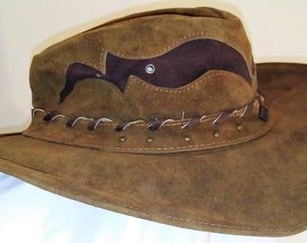 Vintage Handmade Brown Bullhide Hat Biker Leather Cowboy size Large