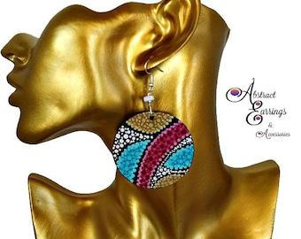 Abstract Earrings, Circle Bright Colorful & Tropical Dangle Earrings, Hand Painted Wood Earrings, Pointillism Earrings, Reversible Earrings