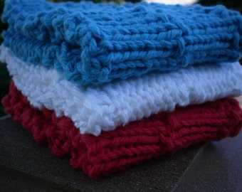 Blanc-rouge et bleu tricoté débarbouillettes - lot de 3