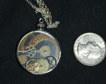 Round glass 2 sided steampunk gears picture metal gears necklace 24 in chain