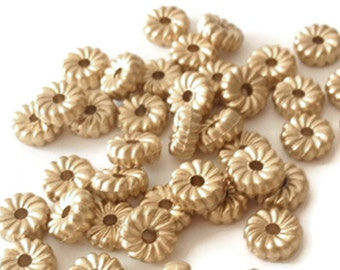 100 Spacers Beads, Jewelry Making Supply, Antique Gold Plated Flower shaped Rondelle 8 mm