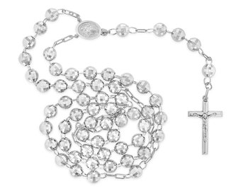 14k White Gold Diamond Cut 8mm Beads 30 inches Huge Big Rosary Necklace for Men Women