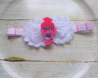 Poppy from Trolls headbands with Hot pink elastic!!