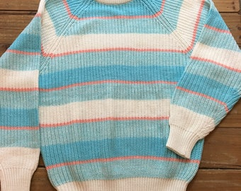 Vintage Women's 80's Contemporary Casuals Pastel Striped Sweater Size Medium