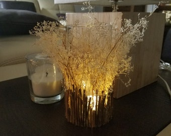 Handmade LED Lights Lantern, Led Tea Lights Candle Holder With Dried Flowers, Tree Branches