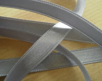 Two meters width 8 mm gray satin ribbon