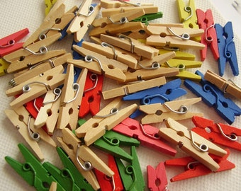 Mini Wooden Clothespegs or Clothespins 50 pcs
