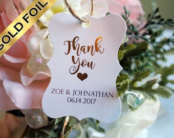 Now Free Shipping!* Wedding thank you tags for weddings, custom thank you tags personalized gold foil all colors