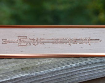 "Unique Sword Name Plate - Office Gifts - Presents for Men - Cool Gifts for Guys - Custom Engraved - Wood - 8""x2"""