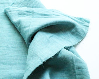 cotton double gauze fabric. soft japanese pure cotton fabric. 102cm (40in) wide. sold by 50cm (19in) long / half yard. smokey pale aqua