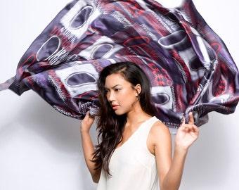 SALE: Printed silk scarf, Oversized scarf, Designer scarf, African scarf, Huge shawl, Printed shawl, Designed by Dikla Levsky