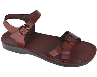Brown Billa Leather Sandals For Men & Women - Handmade Sandals, Leather Flats, Leather Flip Flops, Unisex Sandals, Brown Leather Sa