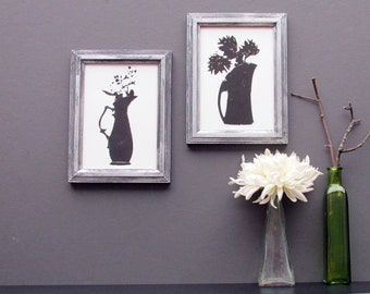 gallery wall - wall collage - Silver Bouquets - 2 piece framed wall art