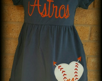 Custom Astros Baseball Dress, Astros Baseball, Personalize Astros Dress, Ruffle Dress, Heart Baseball, Embroidery, Applique, Girls Astros