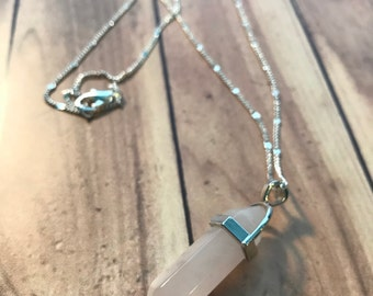 Stunning Rose Quartz Crystal Bullet Necklace //Vintage Look Hippy Healing Chain\\