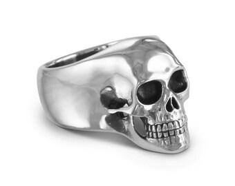 Skull Ring - Antique Silver Human Skull Ring - Memento Mori