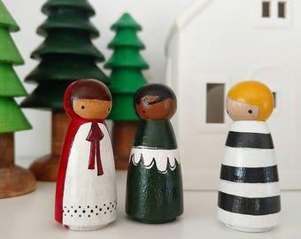 Volkskunst Holzpflock Puppen... Woodland-Mädchen