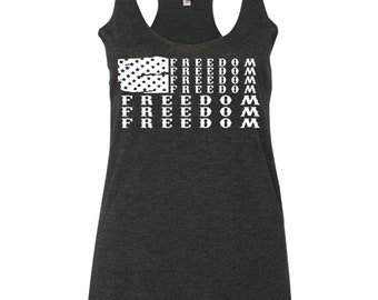 USA Freedom Flag American Flag Women's Triblend Racerback Tank Top