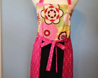 pretty in pink large apron towel combo reversible floral kitchen apron