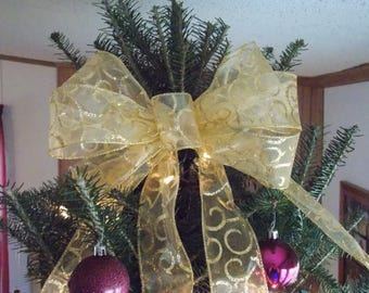Gold Tree Topper - Package Bow - Front Door Decor - Mailbox Bow - Pew Bow