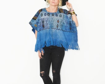 Vintage Fringed Huipil Top, Ethnic Embroidered Poncho