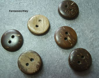 (BTN1) Polished coconut pad 15mm 6 buttons