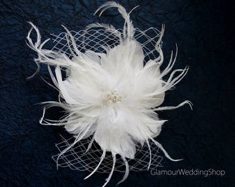 Wedding Hair Clip Wedding Hair Accessories Bridal Fascinator Feather Hair Clip Wedding Bridal Comb