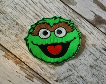 READY TO SHIP!!! Oscar The Grouch - Sesame Street Inspired Applique Iron On Patch Medium Size 4x4! Ready to ship!