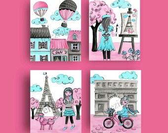 paris decor, Paris art prints, Paris nursery art, girls paris art, Paris bedding art
