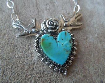 SOLD Swallow Heart Necklace - Sacred Heart Kingman Arizona Turquoise Sterling Silver Bird Necklace - blue green brown matrix turquoise