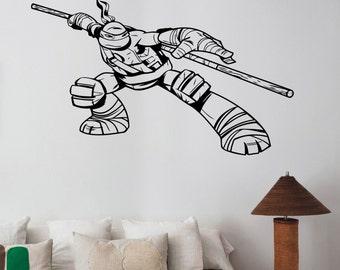 Ninja Turtles Wall Sticker TMNT Decal Donatello Vinyl Art Superhero Decorations for Home Teen Kids Boys Room Bedroom Video Game Decor nts5