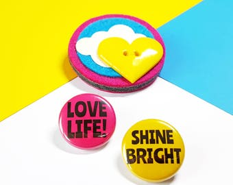 Felt Brooch - Sunshine Felt Brooch with Yellow Heart Button and Shine Bright Button Badge