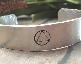 Sobriety Bracelet, Sobriety Gift, AA Symbol Bracelet, Recovery Bracelet, Addiction Recovery, Sober Bracelet, Recovery Gift, Recovery Jewelry