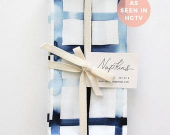 Navy Grid - Set of 4 Napkins