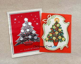 2 Vintage  Christmas Tree Christmas Cards One Is Front Only