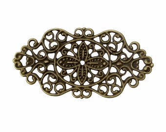 Filigree : 10 Antique Bronze Filigree Links | Brass Ox Filigree Connectors | Metal Jewelry Stampings -- Lead, Nickel & Cadmium Free F36852