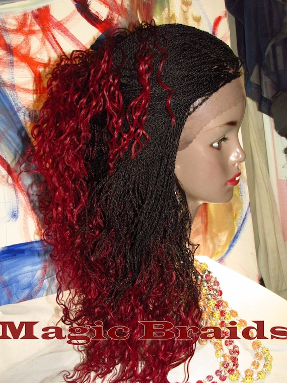 Fully Braided Whole Lace Wig Micro Twists Color Dred Black