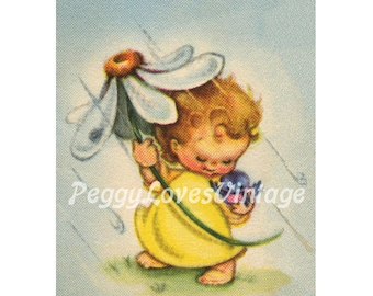 Wedding 38 Sweet Shower Pixie with a Blue Bird a Digital Image from Vintage Greeting Cards - Instant Download