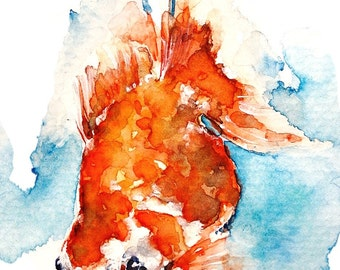 Flowy Orange Goldfish painting: a print of my original watercolor piece, 2 sizes, matted and protected